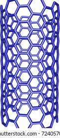 blue carbon nanotube structure on white background