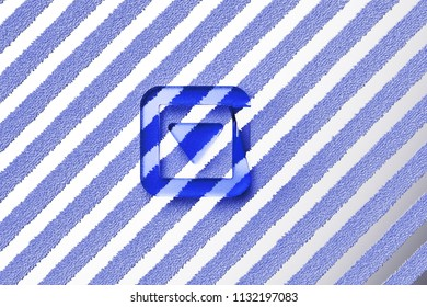Blue Caret Down in Square Icon on the Gray Stripes Fur Background. 3D Illustration of Blue Arrow, Caret, Down, Pointer, Select, Selector Icon Set With Striped Gray Pattern.