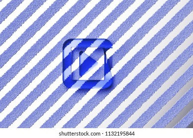 Blue Caret Right in Square Icon on the Gray Stripes Fur Background. 3D Illustration of Blue Arrow, Audio, Caret, Next, Play, Player, Right Icon Set With Striped Gray Pattern.