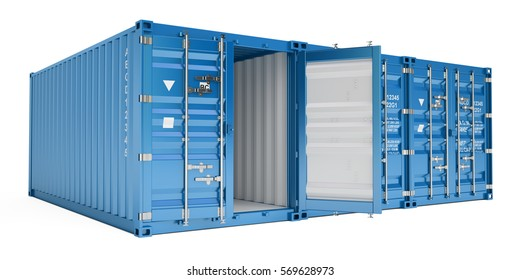 blue cargo containers, 3D rendering isolated on white background