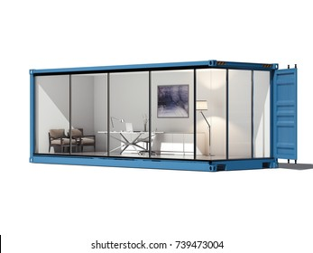 Blue cargo koneiner converted into an office. 3d rendering