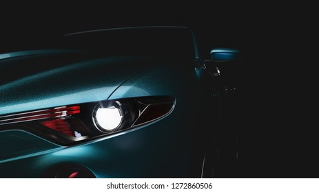 The blue car's headlights. The background is black . 3d rendering and illustration.
