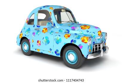 Blue cartoon car with flower print. 3D illustration