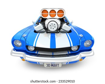 Blue Cartoon Muscle Car on white Background wide-front view