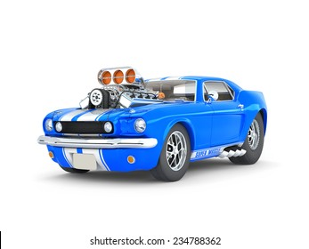 Blue Cartoon Muscle Car on white Background -front side views