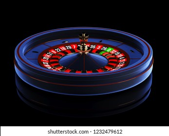 Blue Casino roulette wheel isolated on black background. Modern Casino roulette for poker table. Casino game 3D object. 3d rendering illustration