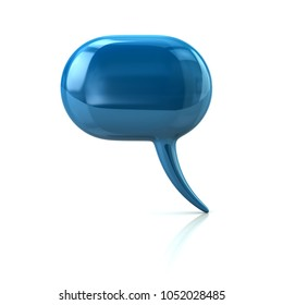 Blue chat bubble icon 3d illustration on white background