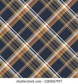 Blue check diagonal seamless fabric texture.