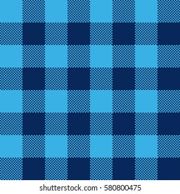 Blue check pattern seamless fabric texture