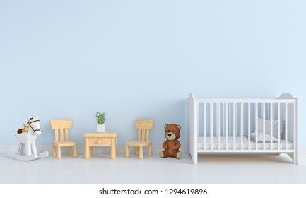 Blue child room interior for mockup, 3D rendering