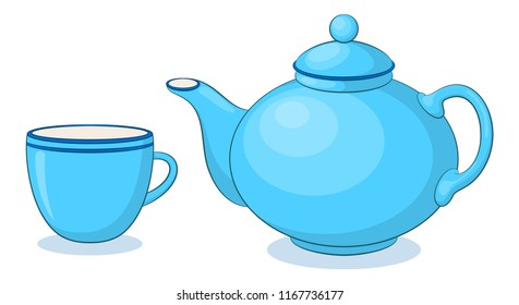Blue China Teapot and Cup, Isolated on White Background.