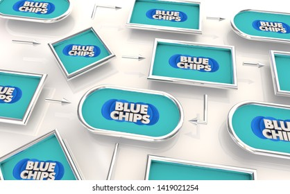 Blue Chips Top Goals Priorities Process Map Plan 3d Illustration