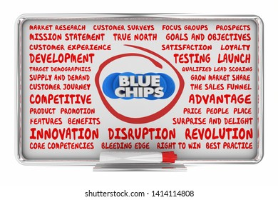 Blue Chips Top Priority Company Goal Business Plan Idea Board 3d Illustration
