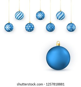 Blue Christmas balls Set. Holiday Decorative Elements. Xmas balls hang on golden string. illustration isolated on white background