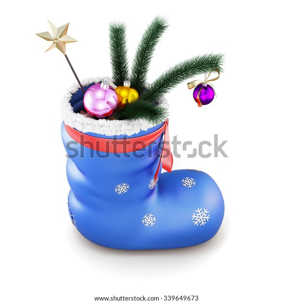 Blue christmas sock with gifts isolated on white background. 3d render image.