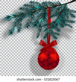 Blue Christmas tree branches on a checker background with shadow. Red ball with snowflakes and ribbon bow. Christmas decorations. Raster illustration