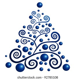blue christmas tree with blue globes