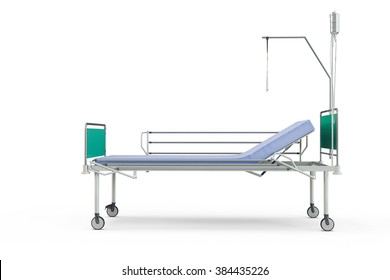 Blue and chrome mobile hospital bed with recliner, 3d illustration, isolated against a white background