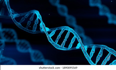 Blue chromosome DNA and gradually glowing flicker light matter chemical when camera moving closeup. Medical and Heredity genetic health concept. Technology science. 3D illustration rendering