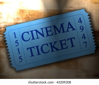 blue cinema ticket on an old paper texture