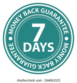 Blue Circle 7 Days Money Back Guarantee Badge, Label, Sticker, Banner, Sign or Icon Isolated on White Background