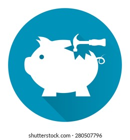 Blue Circle Broken Piggy Bank With Hammer Flat Long Shadow Style Icon, Label, Sticker, Sign or Banner Isolated on White Background