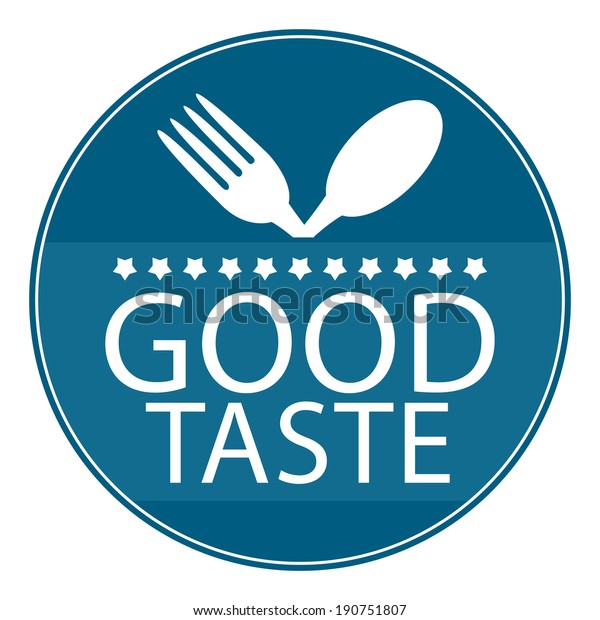 Blue Circle Good Taste Icon, Sticker or Label With Fork and Spoon Sign Isolated on White Background