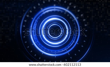blue circle light tracing effect glowing stock illustration