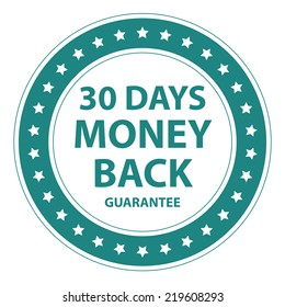 Blue Circle Vintage Style 30 Days Money Back Guarantee Icon, Sticker or Label Isolated on White Background
