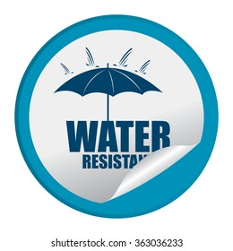 Blue Circle Water Resistant Product Label, Infographics Flat Icon, Peeling Sticker, Sign Isolated on White Background