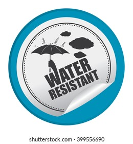 Blue Circle Water Resistant Product Label Infographics Flat Icon, Peeling Sticker, Sign Isolated on White Background