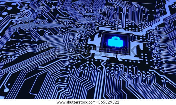 Blue circuit board closeup connected to a cpu with a glowing padlock symbol on top cybersecurity concept 3D illustration