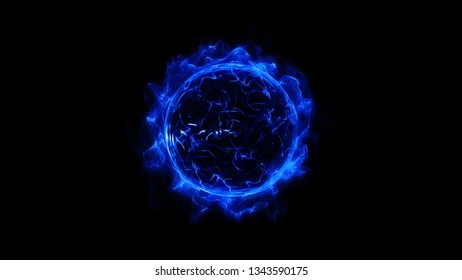 Blue circular shinning glowing light ring sparkle powerful effect dust explosion. Scatter bright neon on black background. Star frame galaxy and space digital concept.