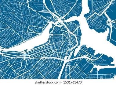 Blue City Map of Boston, Massachusetts