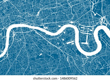 Blue City Map of London, UK