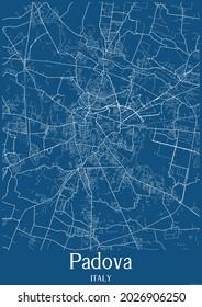 Blue city map of Padova Italy