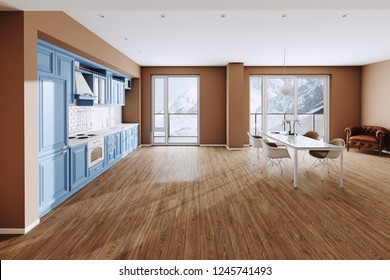 Blue Classic Kitchen and Dining Room in new Luxury Home with  Hardwood Floors, and Stainless Steel Appliances 3d render