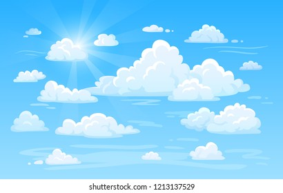Blue clean bright sunshine air cottony sky with clouds panorama. White heavenly cloud weather background  cartoon illustration