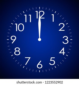 a blue clock - twelve o'clock sharp
