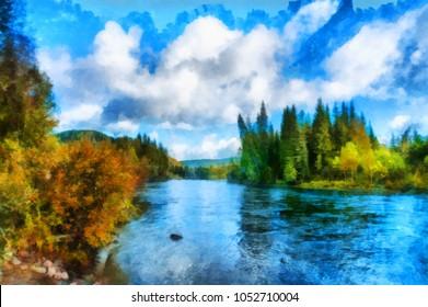 Blue cloudy sky over Nichka river illustration