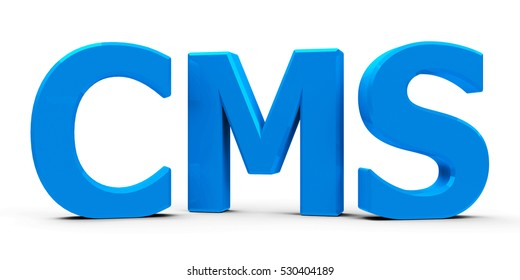 Blue CMS Content Management System symbol or icon isolated on white background, three-dimensional rendering, 3D illustration