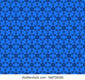 Blue Color Abstract Floral Seamless Pattern Geometry Design Raster Copy For Invitation