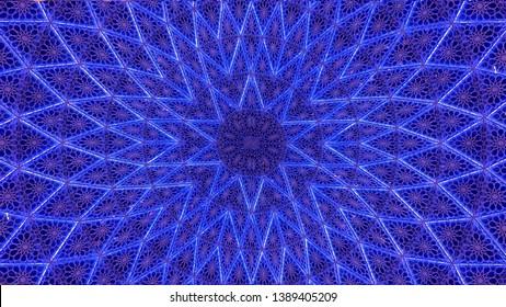 Blue Color Arabic Mashrabiya Design