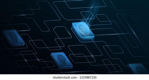 Blue color Biometric Verification theme , Info graphic banner background.