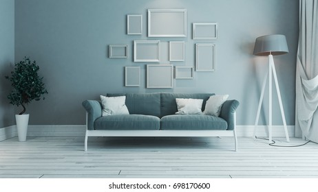 blue color living room interior design with blue seat and white border picture frame 3D rendering