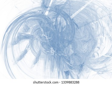 Blue color toned monochrome abstract fractal illustration. Raster clip art