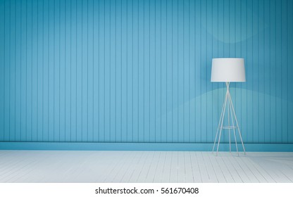 Blue Color wood wall and floor lighting 3d rendering