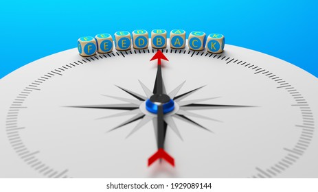 Blue colored blocks with feedback text and compass on blue colored background horizontal composition with copy space 3d render