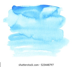 Blue colorful watercolor wet brush paint striped isolated splash on white background for text design, web, card. Aquarelle cold color hand drawn paper texture abstract element for wallpaper, print