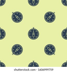 Blue Compass icon isolated seamless pattern on yellow background. Windrose navigation symbol. Wind rose sign.